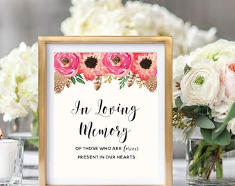 In Loving Memory Sign, Floral Wedding Sign Printable, Watercolor Boho Chic, Instant Download, #BC001