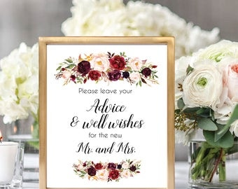 Please Leave Your Advice And Well Wishes For The New Mr. And Mrs. Sign, Well Wishes Sign, Advice Sign, Printable Wedding Sign, #D021