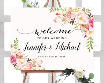 Wedding Welcome Sign Template, Welcome Sign Template, Ceremony Sign Template, Wedding Welcome Sign Printable, Floral Wedding, Boho Chic