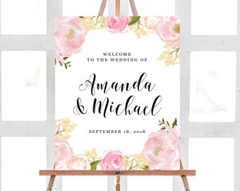 Wedding Welcome Sign, Wedding Welcome Sign Template, Printable Wedding Welcome Sign, Ceremony Welcome Sign, Boho Chic, Blush Floral Wedding