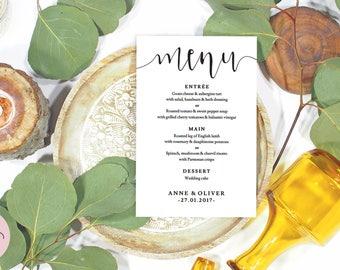 Menu template, Rustic wedding menu template, Printable wedding menu printable, Boho wedding decor, Wedding menu printable menu, AO108_1