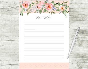 To Do List Printable, Printable To Do List, Floral To Do List, Floral Watercolor To Do List, Printable Notes, Letter Size To Do List