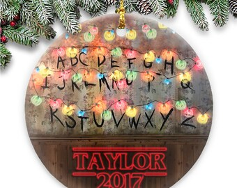 Alphabet Lights - Stranger Things Parody - Ceramic Ornament Personalized with Name & Year