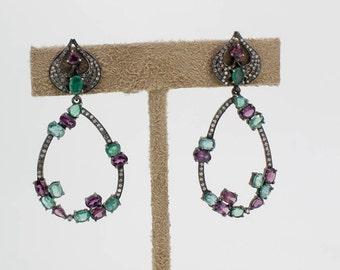 Emerald, Rhodolite Garnet,Stones, Single Cut Diamonds,92.5 Sterling Silver, Earrings,Black Rhodium plated,Handmade Earrings,Silver Earrings