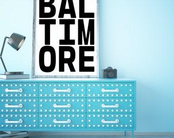 Baltimore, Design, Printable Wall Art, City Art Poster, Maryland Art, Maryland State, Maryland Poster, Baltimore Sign, Maryland Decor, Sign