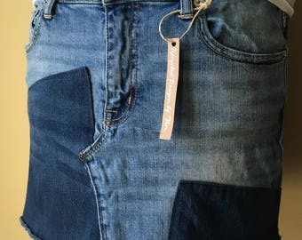 Upcycled Denim - Jean Mini Skirt - Size 12