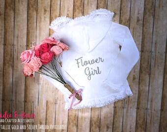 Flower Girl Gift, Monogrammed Girls Hoodie, Ruffle Sweatshirt, flower girl outfit, Bridal, Flower Girl robe, Monogram, Hoodie, Baby, toddler