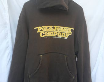 Vintage Polo Jeans Company by RALPH LAUREN Hoodie//American Designer//Big Logo//Made in Indonesia//Size XL