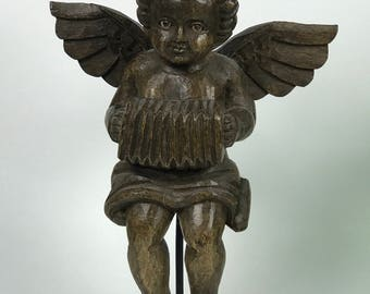 Carved Wood Religious Playing Angel with Stand