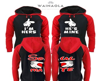 I'm Hers He's Mine Couple Hoodie, Soul Mate Matching Outfits, Couple Matching Hoodies Pärchen Shirts Gifts for Him King Queen Hoodie