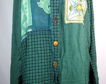 Vintage 90s Indonesian Patchwork Tunic, Wooden buttons, Beaded, Print and Plaid, Green
