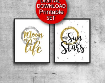Printable Moon of my Life My Sun & Stars Game of Thrones Poster Set of 2 Prints 5x7 8x10 11x14 16x20 24x36 A4 A3