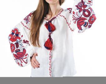 Vyshyvanka White Linen Blouse  Rich Floral Embroidery