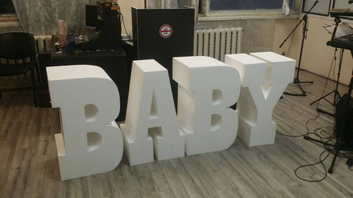 baby letters set of 4 giant styrofoam letter table base With table base letters