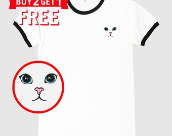 Cat Eyes Embroidered Ringer T-Shirt by 24PlanetsStudio