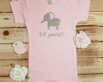 lil' peanut - Onesie, baby elephant baby onesie, lil' peanut baby onesie, cute baby onesie, pink baby onesie, elephant baby onesie, grey