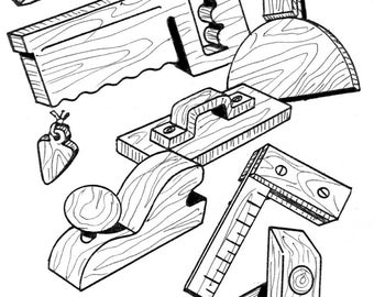 Handy Play Tools #905/6 - Woodworking / Craft Pattern. Trace & Create Outline Drawings. No Enlarging Necessary