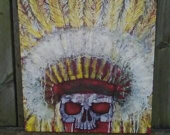 Chief Skull Painting/ 16×20 Canvas Print/ Original Acrylic Painting/ Native Wall Art