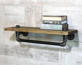Bathroom shelf-Kitchen shelves-Entryway shelf-Metal pipe wall shelf-Industrial wall shelf-Loft dressing room shelf-Book shlelf-Rustic shelf