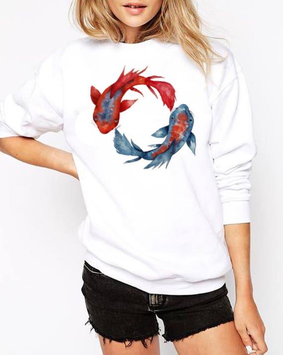 Yin Yang Koi Fish | Unisex Heavy Blend Crewneck Sweatshirt | Graphic shirt | Watercolor yoga art| Japanese carp | ZuskaArt