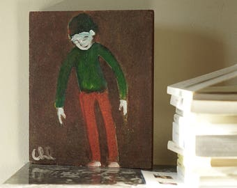 Painting on wood, decorative gift - boy with long arms