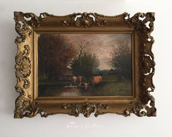 Antique 19th Original Oil Painting On Canvas By Listed Artist A. MILLROSE Original Ornate Wood Frame Cows Landscape American British Painter
