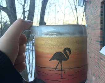 Flamingo standing one foot - seagull silhouette - palm tree - sandy beach - ocean - handmade rustic sunset ombré mug cup