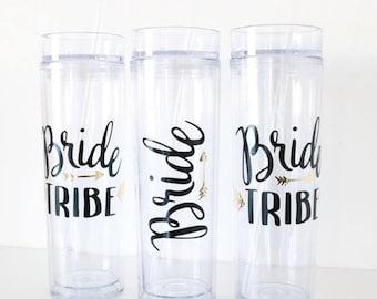 Bride Tribe Skinny Tumbler/engagement gift/cup/glitter/bachelorette gift bag/bridal party/