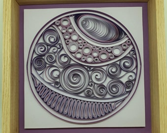Quilling Paper Artistry in Purples. Hand Crafted Oak Frame.