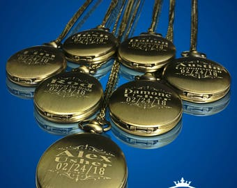 7 Personalized Pocket Watches - Groomsman engraved gifts - Personalize gift engraved watch - Usher & Officiant gifts - Wedding gift set of 7