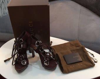 Gucci Ebony Lace Up Platform Sandals