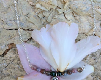 Tourmaline necklace with Karen Hill Tribe Silver pendant. Silver plated necklace. Oct birthstone.