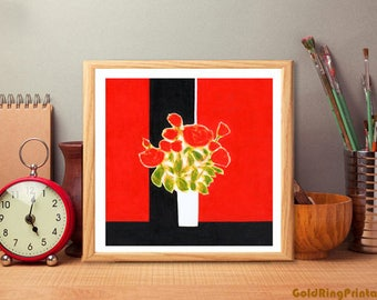 Floral art download,still life prinable,abstract office & home art décor poster,printable wall art,square,instant digital download,red black
