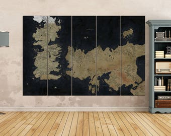Game Of Thrones Map Leather Print/Game Of Thrones Art seven kingdoms map /Ice and Fire stark Game of Thrones Old westeros map