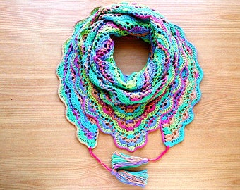 Rainbow crochet shawl Crochet cotton shawl Rainbow triangle scarf Colorful triangle shawl Triangle scarf Multicolor shawl Boho crochet shawl