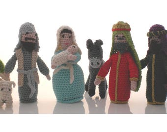 Crocheted nativity scene
