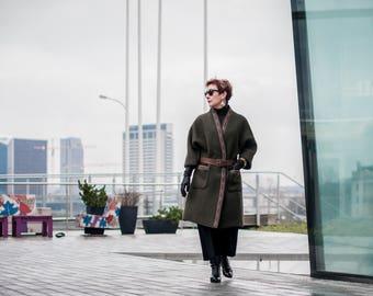 Autumn - Winter coat, ethnic coat, pure woolen coat, decorated coat