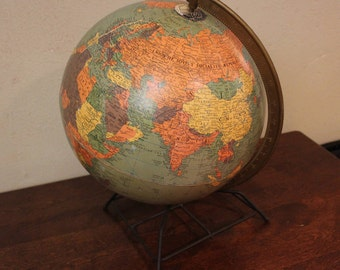 Vintage World Globe Antique Globe Map 1950's