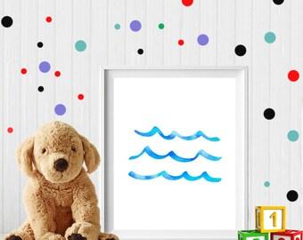 Wave, wave print, wave nursery, sea art, ocean art, nursery sea art, nursery wave art, ocean wave print, digital download, watercolor wave