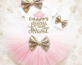 Baby Girl Coming Home Outfit | Baby Shower Gift | Take Home Outfit | Girl Hospital Outfit | Daddy's Princess Has Arrived | Princess Shirt