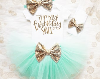 5th Birthday Outfit Girl | Mint And Gold Birthday Tutu Set | 3rd Birthday Shirt | 4th Birthday Outfit | It's My Birthday Y'all