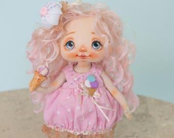 Textile doll, rag doll, cloth doll, art doll, fabric doll, interior doll, OOAK doll, pink, vintage doll, doll - AliceMoon #72