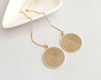 Circle Wired Gold Threader,Circle Swirl Earrings,Circle Gold Threader,Wire Earrings,Circle Wrapped Earrings,Swirl Threader,Gold Loop Earring