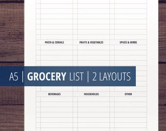 Grocery List Printable, A5 Shopping List, A5 Printable Planner Insert, Minimalist Planner Insert for Meal Planner, Monochrome, Download