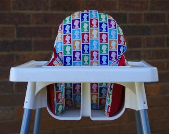 British Stamp - High Chair Cushion Cover To Fit IKEA Antilop Highchair Pyttig Insert - 100% Cotton Fabric - Made By Pear Of Stitches On Etsy