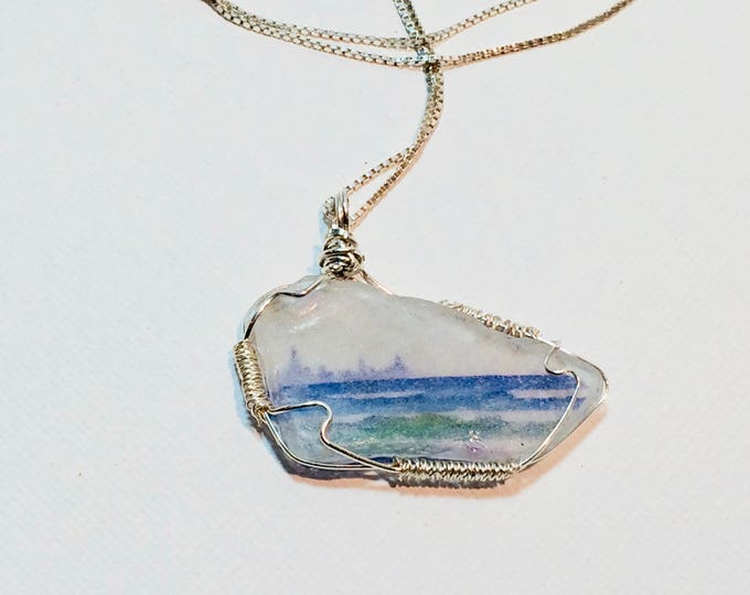 "Beach Glass pendant - Wire Wrap Beach Scene Beach Glass -Lake Michigan - Chicago Skyline - 19"" Sterling Silver Chain"