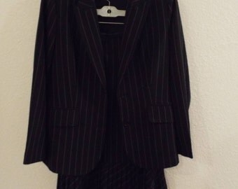 Ladies Nygard Collection Pinstripe Black White Suit Skirt Jacket Size 14