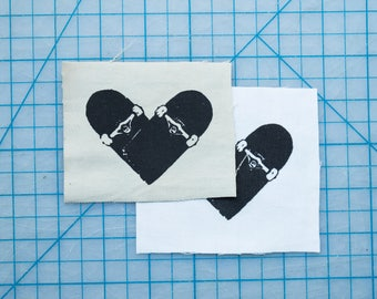 Skateboard Heart Fabric Patch