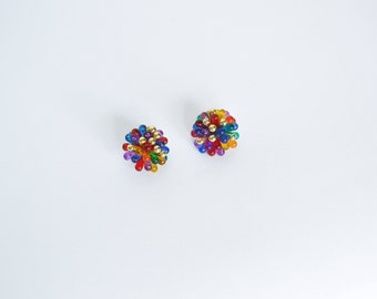 Vintage 90's Rainbow Starburst Earrings