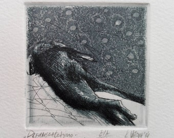 "ORIGINAL Etching ""Dreamcatching - Everything Is Over"" // Modern Glass Framed Hand Pressed Aquatint Print, Surrealism Drypoint Wall Art Decor"